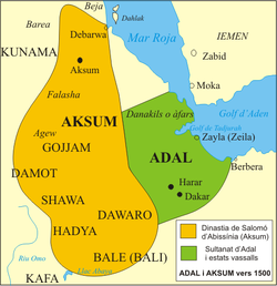 Territory of the Sultanate of Adal and its vassal states circa 1500.