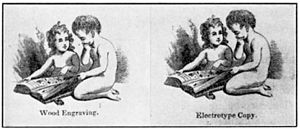"Two similar images, each showing 2 children reading a magazine. One child is seated on a floor and holds the magazine; the second child is kneeling. The left image has the description ""Wood Engraving."" underneath it; the right image has the description ""Electrotype Copy."" underneath it. The two images are nearly identical."