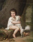 Adolf Ulrik Wertmüller - 1786, two-year-old Henri Bertholet-Campan with his dog Aline.jpg