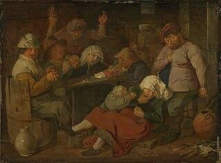 Adriaen Brouwer - Inn with drunken peasants