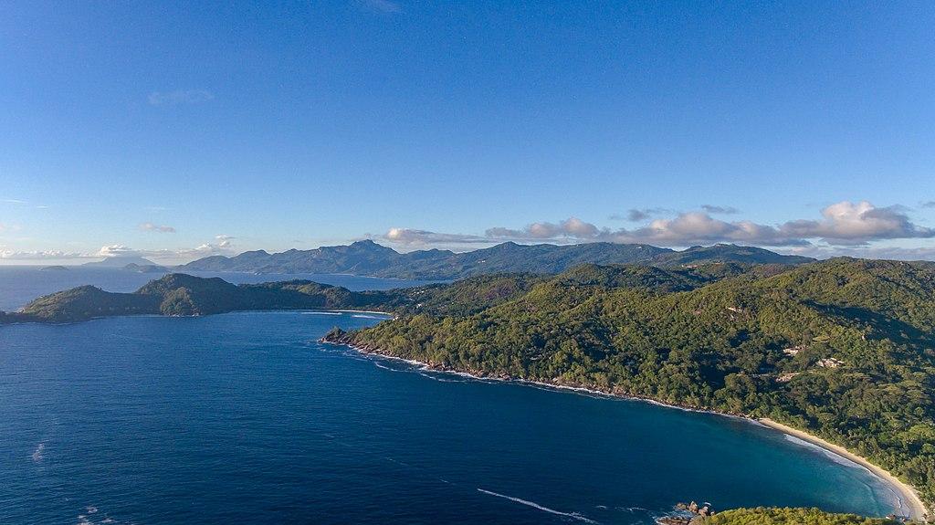 Aerial of Anse Takamaka beach Mahe Seychelles (39589907292)