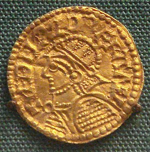 Æthelred the Unready - Gold mancus of Æthelred wearing armour, 1003–1006.
