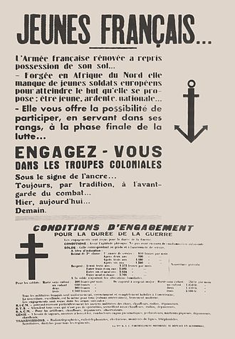 Troupes coloniales - Recruitment poster of the Colonial Forces for the Free French Forces.