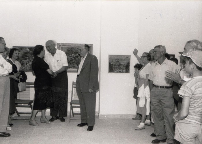 Aharon Zisling and Rivka Shemi at Ein Harod Museum of Art in 1952