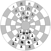 Representation of the starting position for historical circular chess