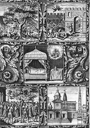 Basilica of Santa Maria del Popolo - The foundation legend of the church, engraving from Giacomo Alberici's book (1599).