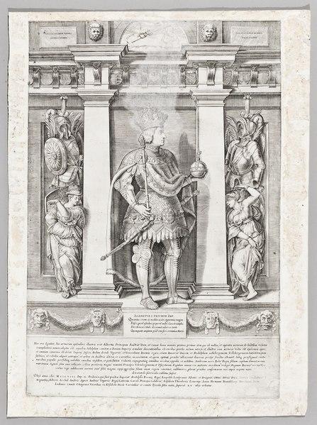 """File:Albert I iklädd rustning och kjol ur """"Fransiscus Tertius Bergomatis, Austriacae gentis imagines"""" - Skoklosters slott - 99705.tif"""