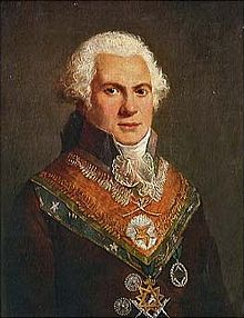 Portrait en couleurs d'Alexandre Louis Roëttiers de Montaleau, il porte un décor maçonnique