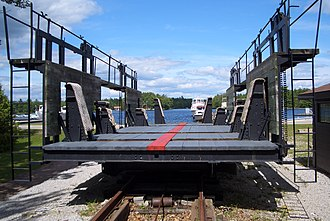 Patent slip - The old Big Chute Marine Railway, showing the cradle and rail system.
