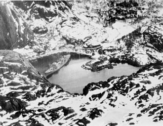 Altmark Incident - Aerial reconnaissance photo of Altmark in the Jøssingfjord prior to the incident