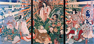 Amaterasu - Amaterasu emerging from the cave, Ama-no-Iwato, to which she once retreated (painted by Kunisada)