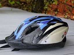 Amazor helmet after crash