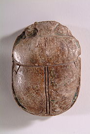 Amenophis III Blue Glazed lion hunt Scarab - top view - HARGM3683.JPG