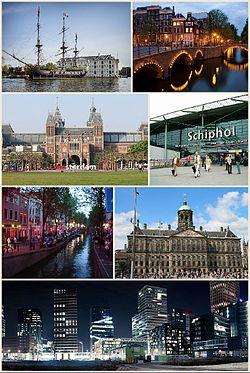 阿姆斯特丹风光。由左上起:荷兰海事博物馆、阿姆斯特丹运河、阿姆斯特丹国家博物馆、史基浦机场、 德瓦伦(红灯区)、水坝广场上的阿姆斯特丹王宫、阿姆斯特丹夜晚天际线