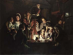 "The painting ""An Experiment on a Bird in an Air Pump"" by Joseph Wright of Derby, 1768, showing Robert Boyle performing a decompression experiment in 1660."