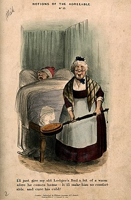 An elderly land-lady taking a warming-pan to put in her lodgers bed, which is already occupied Wellcome V0011176