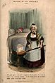 An elderly land-lady taking a warming-pan to put in her lodgers bed, which is already occupied Wellcome V0011176.jpg
