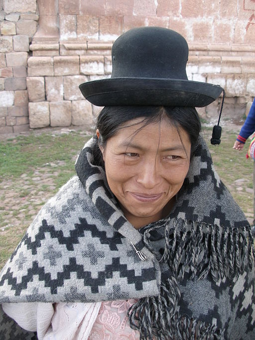 Andean woman in village between Cuzco and Puno Peru