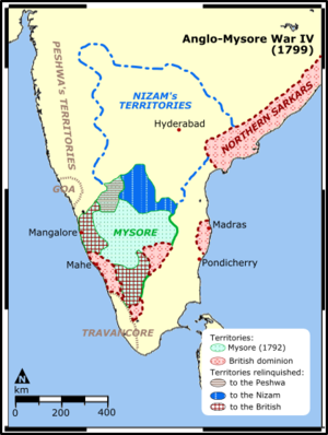 Fourth Anglo-Mysore War - A map of the war theater