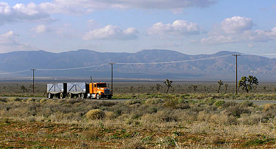 30ff434c86b A truck passes eastbound along the busy Highway 58 through the Antelope  Valley. The Tehachapi