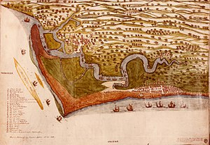 Orford Ness is the peninsula left of and below the river (River Alde) in this 1588 map
