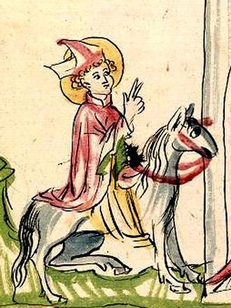 Saint Arbogast - St. Arbogast entering Strasbourg, illustration from the Alsacian Legenda Aurea (1419)