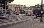 Arguello Boulevard with N Judah train, March 2001.jpg