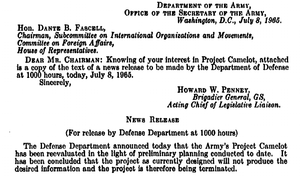 "Project Camelot - Reproduction of letter from the U.S. Army, informing Congressman Dante B. Fascell that ""Project Camelot"" has been canceled on the day hearings are scheduled to begin"