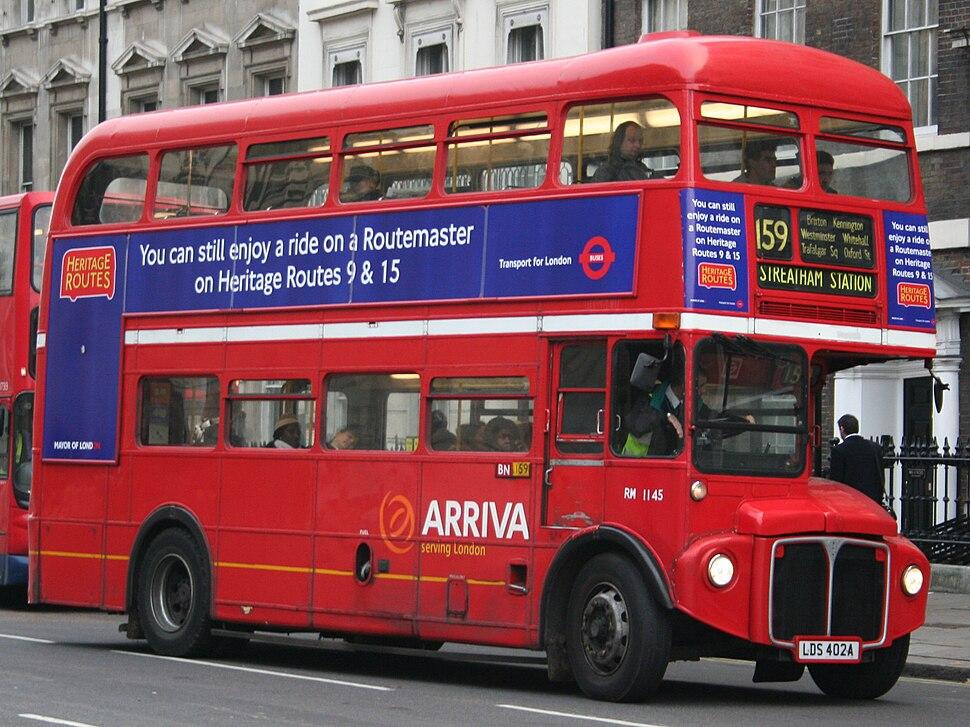 Arriva London Routemaster bus RM1145 (LDS 402A), Parliament Street, route 159, 9 December 2005