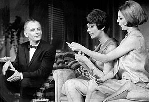 Carole Shelley - Shelley (right) as Gwendolyn Pigeon with Art Carney and Monica Evans in The Odd Couple, 1965.