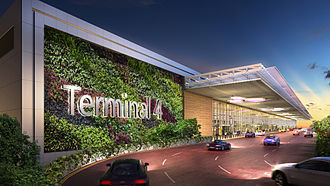 Singapore Changi Airport Terminal 4 - Image: Artists impression of the driveway to Terminal 4 departure kerbside at Changi Airport