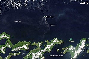 Mount Batutara - Batu Tara and the Lesser Sunda Islands as seen from the NASA MODIS satellite.
