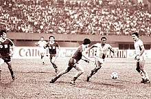 Photo sepia du match entre la Chine et l'Arabie saoudite en 1984