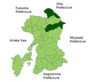 Aso District, Kumamoto - Location of Aso District in Kumamoto Prefecture