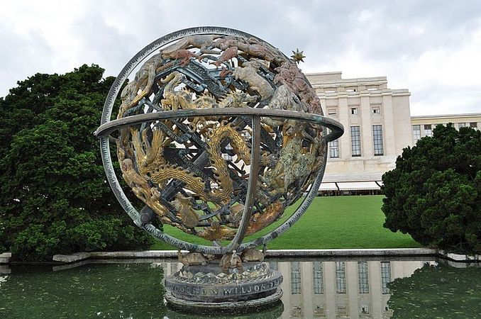 The Celestial Sphere Woodrow Wilson Memorial with the Assembly Hall in the background. Palais des Nations, Geneva, 2010.