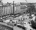 Astoria kereszteződés, metróépítés (1963). Balra MTA lakóház, alul Zagyva-híd. Fortepan 27056.jpg