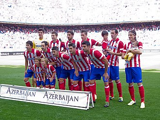 "Sport in Azerbaijan - Atlético Madrid players with kits stating ""Azerbaijan Land of Fire"""