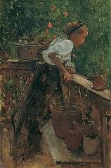 Bauernmädchen auf dem Balkon