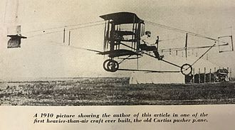 Augustus Post - Augustus Post flying Curtiss pusher plane circa 1910. Post worked closely with Curtiss and flight tested many aircraft.