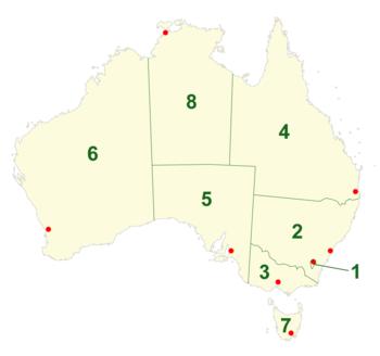 Australiens delstater og territorier.