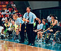 Australian women's wheelchair basketball Assistant Coach Tracy York and Head Coach Peter Corr at the 1996 Summer Paralympics in Atlanta, Georgia.jpg