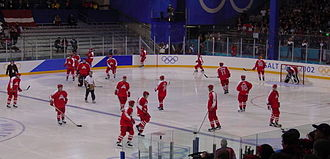 Austria men's national ice hockey team - Members of the Austrian national team at the 2002 Winter Olympics. Austria finished 12th in the tournament.