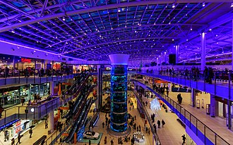 Shopping mall - The interior of the Aviapark in Moscow, Russia.
