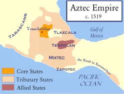 Προσεγγιστικός χάρτης της αυτοκρατορίας των Αζτέκων