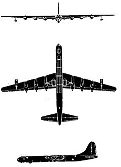Silhouette views of B-36F from front, bottom, and side