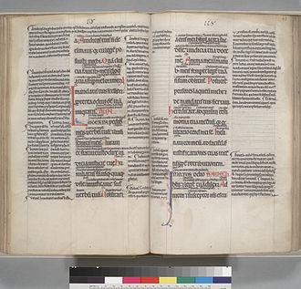 Digital Scriptorium - Glossed Psalter, Paris, c. 1140-60; Berkeley, CA, U.C. Berkeley Bancroft Library, MS UCB 147, fol. 46v-47r.