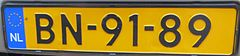 BN plate of the Netherlands (special plate).JPG