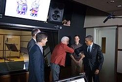 Barack Obama, Steve Martin, Jim Parsons, DreamWorks Animation, 2013.jpg