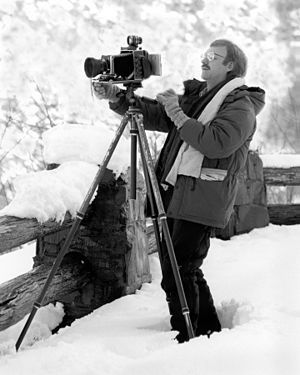 Timothy Lee Barnwell - Tim Barnwell with 4x5 view camera in the field.