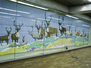 Joyce Wieland - Barren Ground Caribou, a fabric installation by Joyce Wieland at Spadina subway station in Toronto.
